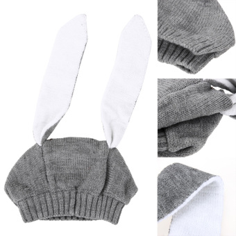 Winter Baby Rabbit Ears Knitted Hat Toddler Kids Wool Cap For Children 0-3Y - 2