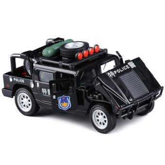 Harga Hummer h3 suv police car alloy car model simulation model of children's toys police car sound and light pull back car