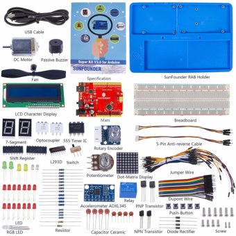 Harga SunFounder Super Starter Kit V3.0 For Arduino With Mars and Tutorial Book for Arduino UNO R3 Mega 2560 - intl
