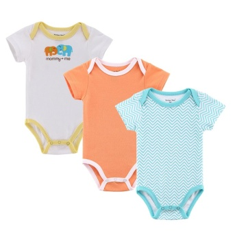 Harga Mother Nest 3 Pcs Baby Rompers Short Sleeves Cotton Jumpsuits S (Orange) - intl
