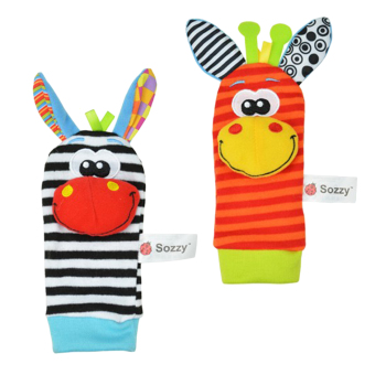 Harga 360WISH One Pair Lovely Infant Baby Kids Animal Bells Foot Sock Rattles Soft Toys
