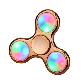 Harga LED Light Fidget Hand Spinner Torqbar Finger Toy EDC Focus Gyro Rose Gold - intl