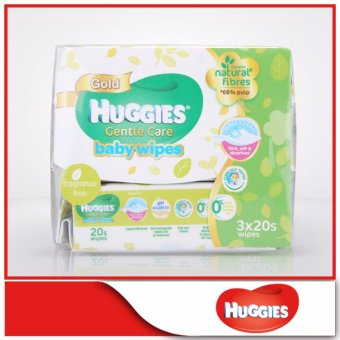 Harga Huggies Baby Wipes Gentle Care 20sx3
