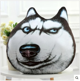 Harga Cool creative 3D big dog's head pillow husky plush toy doll lying dog pillow birthday gift girls