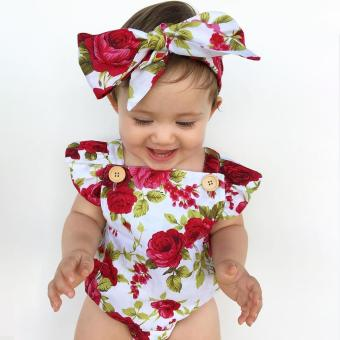 Blackhorse Newborn Baby Girls Clothes Flower Jumpsuit Romper Bodysuit + Headband Outfits -Chili Red - intl - 5