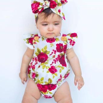 Blackhorse Newborn Baby Girls Clothes Flower Jumpsuit Romper Bodysuit + Headband Outfits -Chili Red - intl - 4