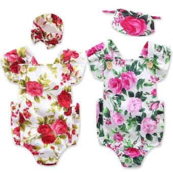 Blackhorse Newborn Baby Girls Clothes Flower Jumpsuit Romper Bodysuit + Headband Outfits -Chili Red - intl - 2