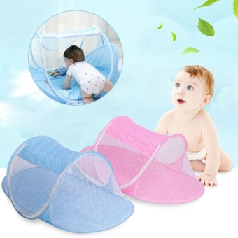 Harga Baby Infant Foldable Nursery Sleep Play Crib Bed Cot Netting Canopy Mosquito Net Tent Pink - intl