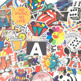 Harga misodiko 100Pieces 6-12cm Waterproof Decal Stickers for Notebook, Travel Case, Scrapboking and More (Type-A) - intl