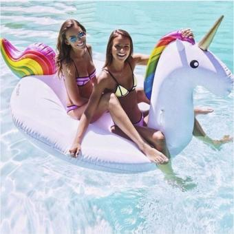 Harga Unicorn Swimming Float Swan Inflatable Boat - intl