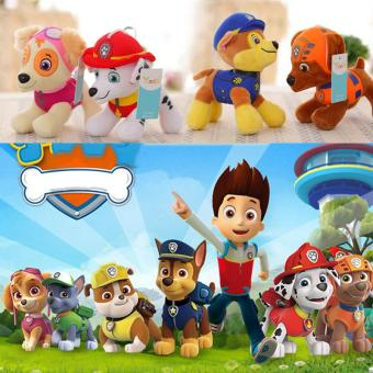 Harga 6Pcs PAW PATROL COMPLETE SET of 6 Cute Dogs plush Doll Dog Toy Zuma 12CM - intl