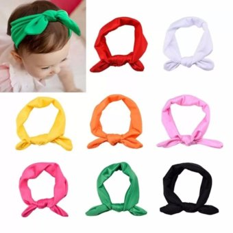 Harga Welink 8pcs Baby Girl Elastic Turban Headbands Head Wrap Rabbit Ear Hair Band - intl