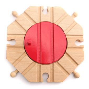Harga 1pcs Miniature Wooden Train Switch Track Set Circular Turntable Educational Toys Boy Kids Toy - intl