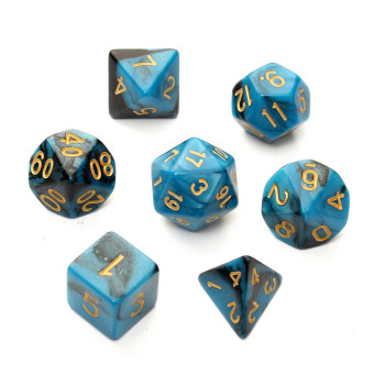 Harga New 7pc/Set TRPG Games Gaming Dices D4-D20 Multi-sided Dices Double colo Blue - Intl