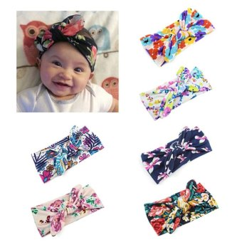 Harga Welink 6pcs Baby Girls Rabbit Ears Elastic Hair Bands Flowers Bowknot Headband - intl