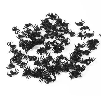 50pcs Small Plastic Fake Spider Toys Halloween Joke Props - intl