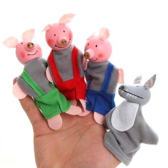 Harga 4Pcs/set Finger Puppets Three Little Pigs Doll Baby Kids Educational Toy - intl