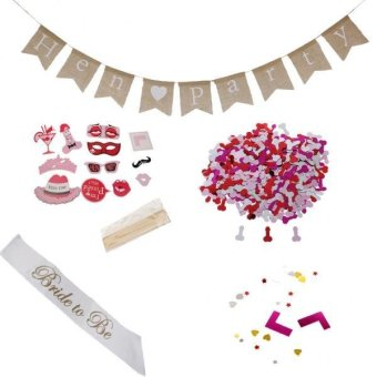 Harga MagiDeal Hen Party Set Photo Prop+bride to be Sash+Hen Party Banner+Table Confetti - intl