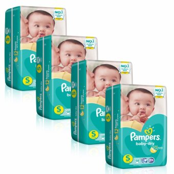Harga Pampers Baby Dry Diapers S 58s x 4 packs