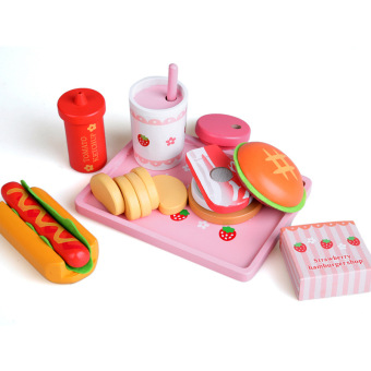 Harga [Wang] wooden hamburger toys strawberry simulation Hamburger hot dog group children over every family Kitchen toys