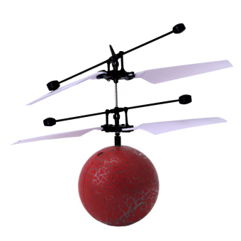Harga Infrared Induction Helicopter Flying Ball Flashing LED Light Kids Toy (Red) - intl