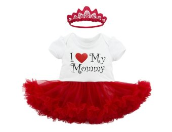 Harga Baby Girl's I Love My Mommy Outfits Romper Tutu Dress Set (S(0-3)) - intl