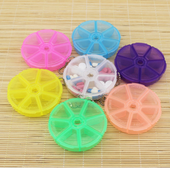 Harga Portable Organizer Pill Round Box 7 Slot Health Pill Box Case Medicine Drug
