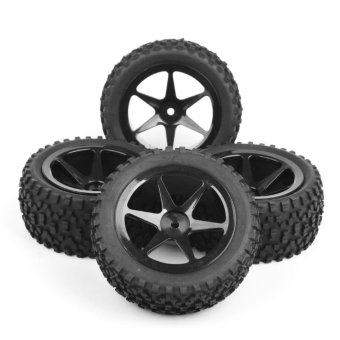 Harga 4PC Rubber Off-Road Front&Rear Tires Wheel Rim For RC 1:10 Buggy Car 25036+27011 - intl