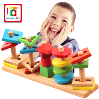 Harga Old baby enlightenment early childhood educational wooden toys for children boys baby intelligence shape matching blocks
