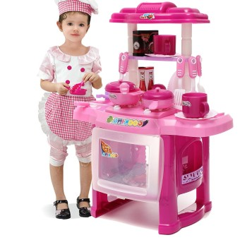 Harga Pro Pink Kids Kitchen Cooking Pretend Role Toy Play Set Lights Sound Electronic