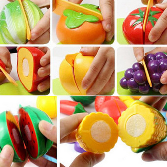 Harga ABS Kids Pretend Role Play Kitchen Food Play Vegetable Food Toy Cutting Fruit for Kid Children Toys Gift Set - Intl