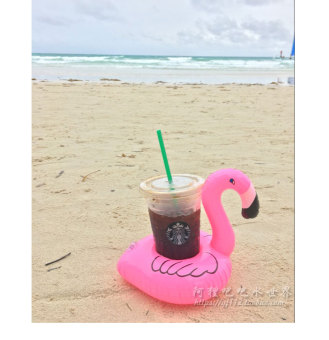 Harga Pink flamingo floating cup holder water inflatable coke sets donuts drink cup holder camera swimming toys