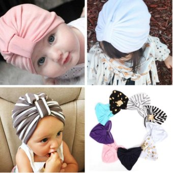 Harga Baby Girls Kids Jersey Turban Hat Child Hat Cotton Soft Baby Turban Beanie Hat(S,White) - intl