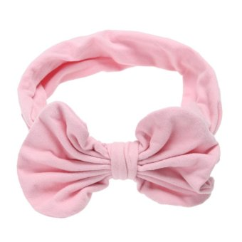 Harga Baby Girls Korean Cotton Bowknot Stretchable Hairband (Pink) - intl