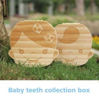 Harga New Milk Teeth Wooden Tooth Storage Box For Kids Baby Save 3-6YEARS Creative Girl English - intl