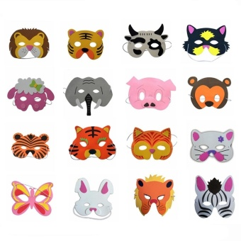 Harga 20 Pcs/lot Beautiful EVA Animal Children Party Mask Child Christmas Halloween Masks Children's Party Decoration