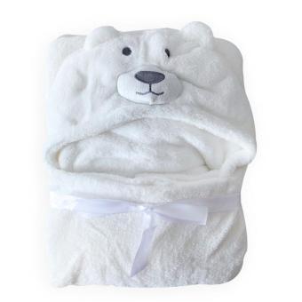 Cute Animal Cartoon Baby Kid Hooded Bathrobe Toddler Bath Towel (White Bear) - 5