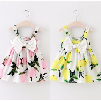 Harga Lemon Print Cute Baby Girls Bowknot Summer Floral Dress Sundress Clothes Lemon Yellow - intl