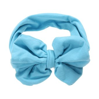 Harga Baby Girls Korean Cotton Bowknot Stretchable Hairband (Blue) - intl