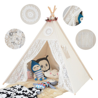Cotton & Lace Children Play Tent Four Poles Teepee For Girls - intl - 5