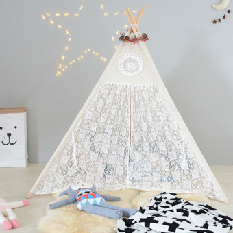 Cotton & Lace Children Play Tent Four Poles Teepee For Girls - intl - 3