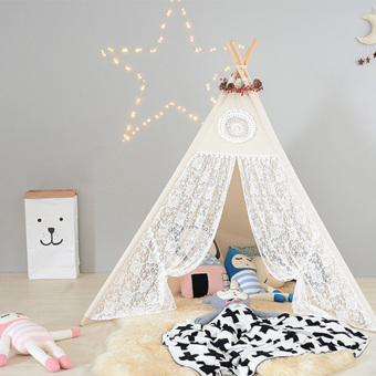 Cotton & Lace Children Play Tent Four Poles Teepee For Girls - intl - 2