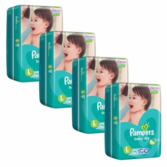 Harga Pampers Baby Dry Diapers L46's (9-14kg) X 4 Packs