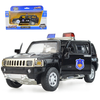 Harga Children's toy police car police car hummer h3 police car alloy car model car with sound and light pull back
