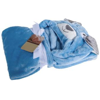 Cute Cartoon Flannel Baby Kid's Hooded Bath Towel Toddler (Blue Dog) - 5