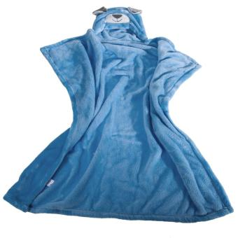 Cute Cartoon Flannel Baby Kid's Hooded Bath Towel Toddler (Blue Dog) - 4