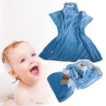 Cute Cartoon Flannel Baby Kid's Hooded Bath Towel Toddler (Blue Dog) - 3