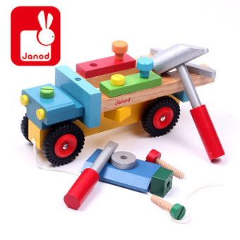 Harga France jonod end of a single children's wooden disassembly nut disassembly tool cart engineering car model toy