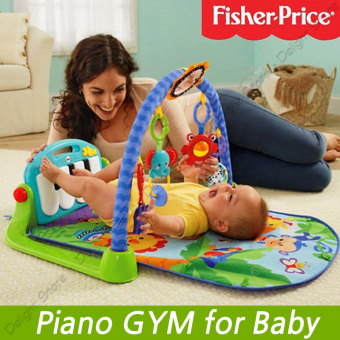 Harga Fisher Price Piano Gym Toddler GYM Giraffe Kick and Play (Blue) - intl