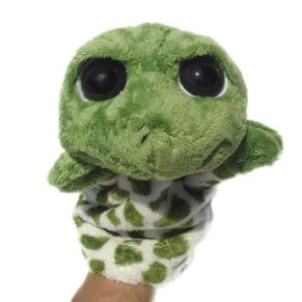 Harga Cute plush animal finger puppet doll full body hand puppet toys Green - intl